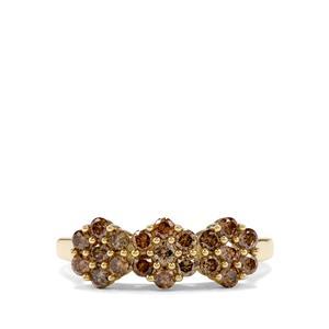 3/4ct Champagne Diamond 10K Gold Ring