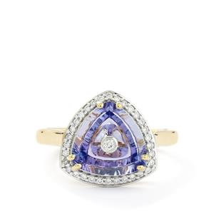 Lehrer TorusRing AA Tanzanite & Diamond 18k Gold Ring MTGW 3.38cts