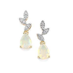 Ethiopian Opal Earrings with White Zircon in 10K Gold 0.97ct