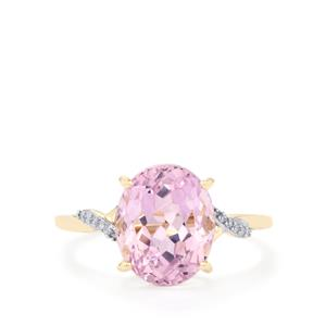 Mawi Kunzite Ring with Diamond in 10k Gold 4.69cts