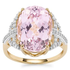 Mawi Kunzite Ring with Diamond in 18K Gold 9.83cts