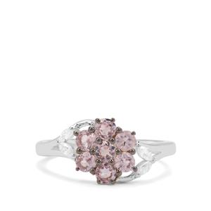 Pink Spinel & White Zircon Sterling Silver Ring ATGW 1.11cts