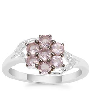 Pink Spinel Ring with White Zircon in Sterling Silver 1.11cts