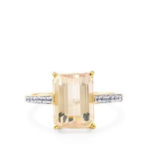 Mawi Kunzite & White Zircon 10K Gold Ring ATGW 4.91cts