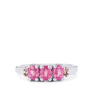 Ilakaka Hot Pink Sapphire & Pink Tourmaline Sterling Silver Ring ATGW 1.59cts (F)