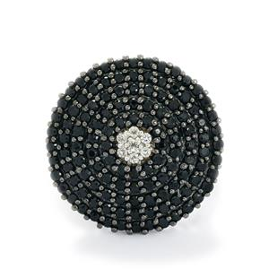 Black Spinel & White Topaz Sterling Silver Ring ATGW 3.80cts
