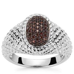 Red Diamond Ring in Sterling Silver 0.20ct
