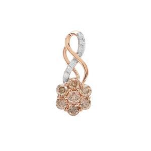 Champagne Diamond Pendant with White Diamond in 9K Rose Gold 0.80ct