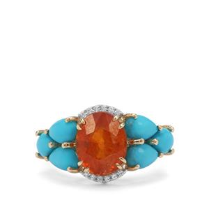 Mandarin Garnet, Sleeping Beauty Turquoise Ring with White Zircon in 9K Gold 6.25cts