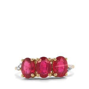 Malagasy Ruby Ring with Diamond in 10k Gold 3.26cts (F)