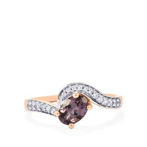 Mahenge Purple Spinel  Ring with White Zircon in 10K Rose Gold 1cts