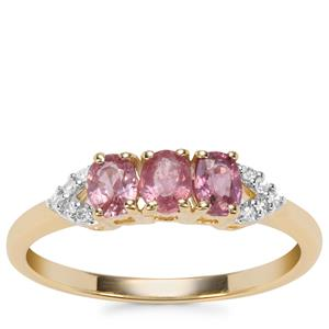 Padparadscha Sapphire Ring with Diamond in 9K Gold 0.77ct