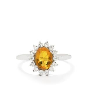 Orange AAA American Fire Opal & Ratanakiri Zircon 10K White Gold Ring  ATGW 1.40cts