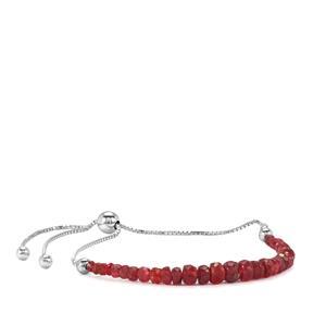 Burmese Red Spinel Graduated Bead Slider Bracelet in Sterling Silver 7.50cts