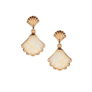 Baltic Butterscotch Amber Seashell Earrings in Gold Tone Sterling Silver (13 x 12mm)