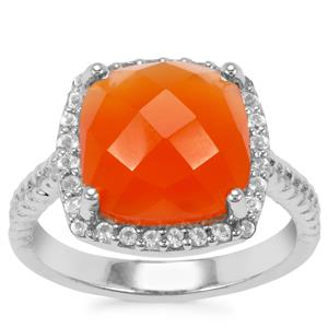 Carnelian Ring with White Topaz in Sterling Silver 6.06cts