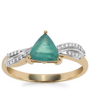 Grandidierite Ring with Diamond in 18K Gold 0.95ct