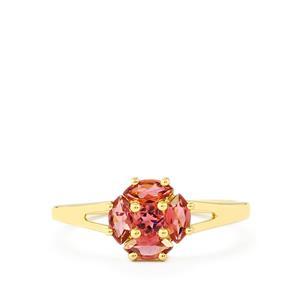 0.68ct Natural Pink Tourmaline 9K Gold Ring
