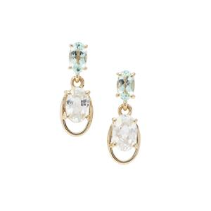Singida Tanzanian Zircon & Aquaiba™ Beryl 9K Gold Earrings ATGW 1.95cts