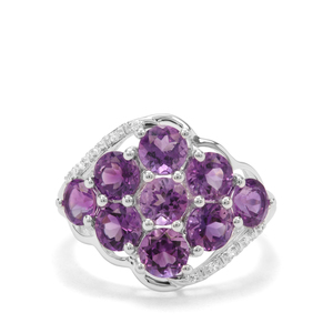 Moroccan Amethyst & White Zircon Sterling Silver Ring ATGW 3.07cts