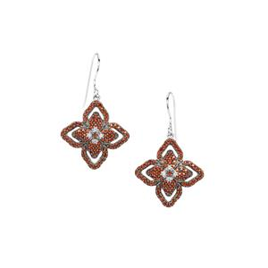 Anthill Garnet Earrings with White Zircon in Sterling Silver 1.80cts