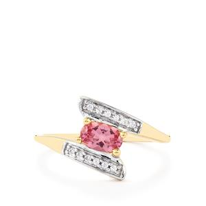 Pink Spinel & White Zircon 9K Gold Ring ATGW 0.56cts