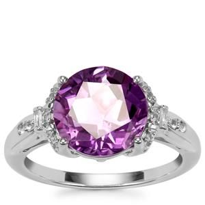 Lone Star Zambian Amethyst Ring with White Topaz in Sterling Silver 3.86cts