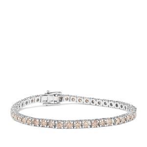 Champagne Diamond Bracelet in 9K White Gold 6.95cts