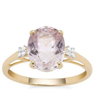 Nuristan Kunzite Ring with Diamond in 9K Gold 3.57cts