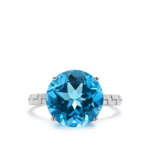 Swiss Blue Topaz Ring in Sterling Silver 8.10cts