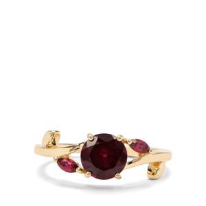1.96ct Rajasthan & Nampula Garnet 9K Gold Ring