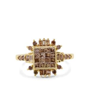 1ct Cape Champagne Diamond 9K Gold Ring
