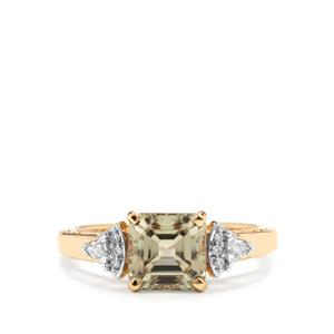 Asscher Cut Csarite® Ring with Diamond in 18K Gold 2.37cts