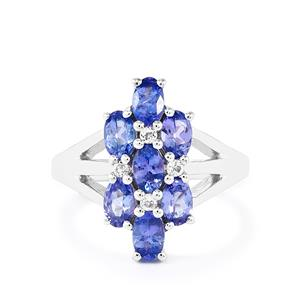AA Tanzanite & White Topaz Sterling Silver Ring ATGW 2.14cts