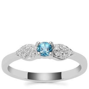 Swiss Blue Topaz Ring with White Zircon in Sterling Silver 0.26ct
