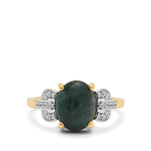 Grandidierite Ring with White Zircon in 9K Gold 2.95cts