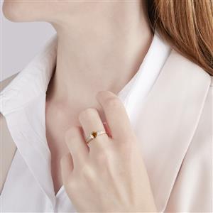 Ambilobe Sphene Ring with White Zircon in 10k Gold 0.76ct