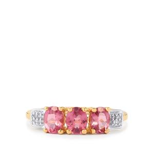 Mozambique Pink Spinel & Diamond 9K Gold Ring ATGW 1.11cts