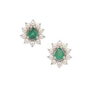 Zambian Emerald & Kaori Cultured Pearl Sterling Silver Earrings