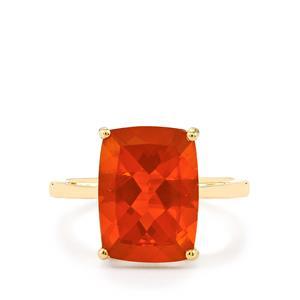 AA Orange American Fire Opal Ring in 10K Gold 4.83cts