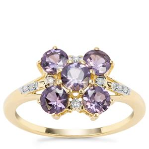 Mahenge Purple Spinel Ring with Diamond in 9K Gold 1.36cts