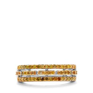 1/2ct Yellow Diamond Sterling Silver Ring