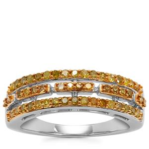 Yellow Diamond Ring in Sterling Silver 0.50ct
