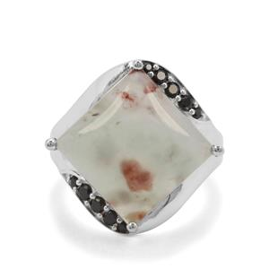 Aquaprase™& Black Spinel Sterling Silver Ring ATGW 9.62cts