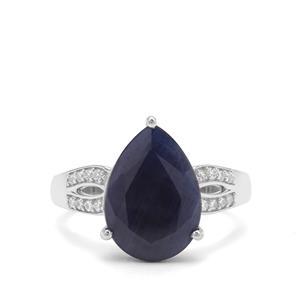 Bharat Blue Sapphire & White Zircon Sterling Silver Ring ATGW 7.33cts