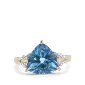 Santa Maria Topaz & Diamond 9K Gold Ring ATGW 5.19cts