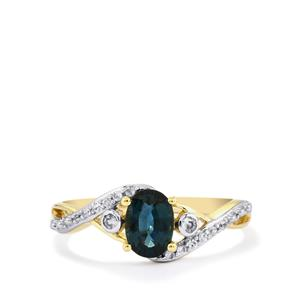 Nigerian Blue Sapphire & White Zircon 10K Gold Ring ATGW 0.96cts