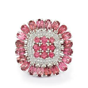 Pink Tourmaline & White Topaz Sterling Silver Ring ATGW 5.57cts