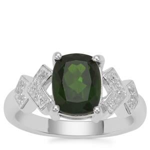 Chrome Diopside Ring with White Zircon in Sterling Silver 2.24cts