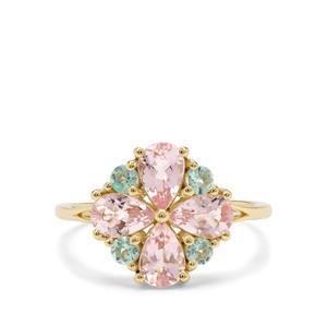 Cherry Blossom™ Morganite & Aquaiba™ Beryl 9K Gold Ring ATGW 1.60cts